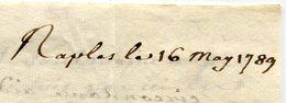 NAPLES Pour MARSEILLE LAC Du 16/05/1789 ( 2 Scans) - Postmark Collection (Covers)