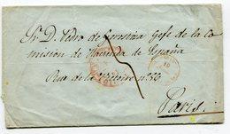 ESPAGNE Pour PARIS LSC Arrivée 22:07:1849 Entrée  ESPAGNE PAR ST JEAN DE LUZ - Storia Postale