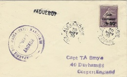 "1930- Enveloppe Affr. N°268 SEUL  Oblit; D'Alexandrie ( Egypte ) Avec Cachet PAQUEBOT "" ANGKOR "" - Marcophilie (Lettres)"