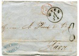 VIENNE Pour LE HAVRE LSC Du 01/12/1862 Entrée Rouge   3 AUTR 3  STRASBOURG + TFM De 8 - Postmark Collection (Covers)