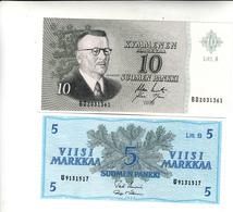 Finlandia 2 Banconote 5 E 10  Markkaa  Uncirculade 1963 - Finlandia