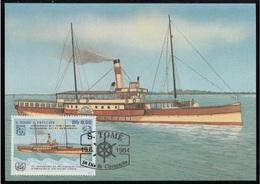 752b S. Tomé E Principe 1984 Navi A Vapore Maximum Card HAMBURG  (1893) Steamers Maxi - Sao Tomé E Principe