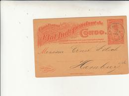 Matadi To Amburgo Carte Intero Postale  Etat Indipendent Du Congo - Interi Postali