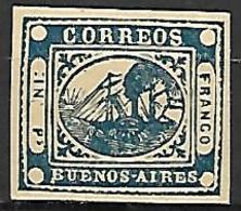 BUENOS - AIRES   -   1859  .  Y&T N° 7 (*) .  Bateau à Vapeur - Buenos Aires (1858-1864)