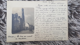 ARRAS - SUPER CPA PIONNERE - PHOTO RUE ANIMEE ET TOUR DU COUVENT DES URSULINES - 1901 DOS SIMPLE - Arras