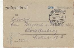 Feldpostbrief Obl K.D. Feldpostexped 54. Infant.-Div Du 9.11.15 + Cachet Fußartillerie Batterie Nr 270 Pour Charlottenbu - 1. Weltkrieg 1914-1918