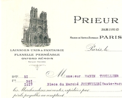FACTURE 1928 PRIEUR & Cie FLANELLE OXFORD RÉMOIS - 9 RUE St MARTIN PARIS 4 ème - DESSIN CATHÉDRALE DE REIMS - JOINVILLE - Vestiario & Tessile