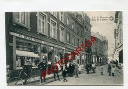 MARCHE-Rue St Laurent-Commerces-Animation-Periode Guerre 14-18-1WK-BELGIEN-Feldpost-Cachet MARCHE - Marche-en-Famenne