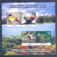 K155- India 2012 Birds Endemic Species Biodiversity Sheet. - India