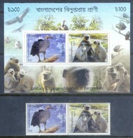 K157- 2012 Critically Endangered Animals Of Bangladesh, Birds, Mammal, Monkeys. - Stamps