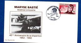 Enveloppe 1er Jour  /40 ème Anniv. Disparition Maryse Bastié / Limoges / 7-11-92 - FDC