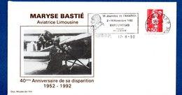 Enveloppe 1er Jour  /40 ème Anniv. Disparition Maryse Bastié / Limoges / 7-8-92 - FDC