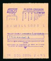 Ticket SNCF : Gare De Plaisir-Grignon - Tacoignières (Yvelines), Trajet Simple (2006) - Chemins De Fer