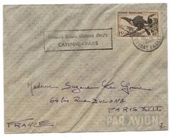 Guyane France Lettre Avion Cayenne Paris 1949  Airmail Cover Aerophilatélie Bird Oiseau Toucan - French Guiana (1886-1949)