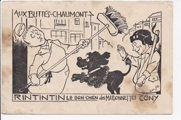 """CPSM ILLUSTRATION Aux Buttes Chaumont """"Rintintin Le Bon Chien Des Marionnettes """" - Illustrateurs & Photographes"""