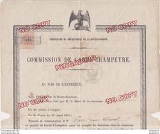 Hte Garonne Toulouse Montgiscard Commission Garde Champêtre Corronsac Timbre Fiscal 17 Mai 1866 Napoléon III Gendarmerie - Historical Documents