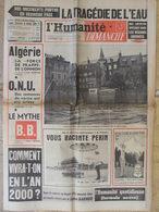Journal L'Humanité Dimanche (9 Oct 1960) Algérie - Tulle Brive Aubusson Inondées - ONU - Brigitte Bardot - - Newspapers