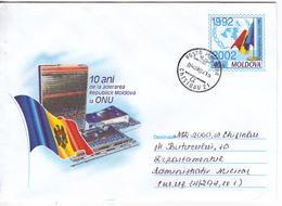 2002 , Moldova  Moldavie  Moldau , 10 Years Moldova's Accession To The UN , ONU , Flag , Pre- Paid Envelope , Used - Moldova