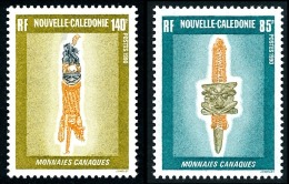 NOUV.-CALEDONIE 1990 - Yv. 592 Et 593 **   Faciale= 1,89 EUR - Monnaies Canaques (2 Val.)  ..Réf.NCE23905 - New Caledonia