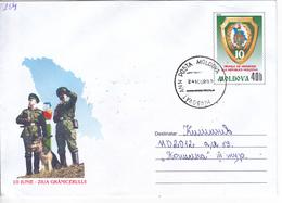 2002 , MOLDOVA  MOLDAVIE  MOLDAWIEN , Pre-paid Envelope , 10 Years - The Border Guards Rep.Moldova , Ganzache , Used - Moldova