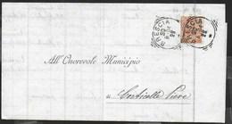 STORIA POSTALE REGNO - ANNULLO TONDO RIQUADRATO BRESCIA 30.08.1904 SU PIEGO PER CORTICELLA PIEVE - Storia Postale