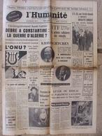 Journal L'Humanité (4 Oct 1960) Brigitte Bardot - Popov - Gang Des Prisunic Drancy - Scandale Fréjus - - Kranten