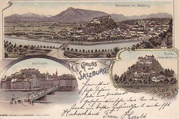 AK Gruss Aus Salzburg - Mehrbildkarte Litho - Stadtbrücke Panorama Festung - 1898 (36444) - Salzburg Stadt