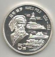 Cina, 1992, 5 Y. Marco Polo, Ag. Proof. - Cina
