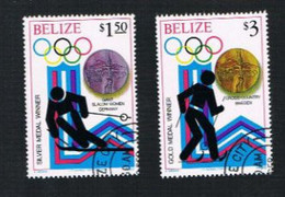 BELIZE - SG 568.575 -  1980 WINTER OLYMPIC GAMES (4 STAMPS OF THE SET)  - USED ° - Belize (1973-...)