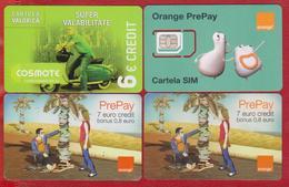 4 Phone Cards PrePay Orange And Cosmote Romania - Rumania