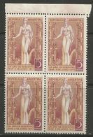 Argentina - 1947 Peron Anniversary Margin Block MNH **     Sc 565 - Argentina