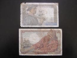 Lot N°3 Billet MINEUR 10 Francs PECHEUR 20 Francs 1942 - 1871-1952 Antichi Franchi Circolanti Nel XX Secolo