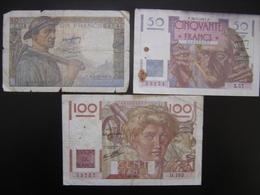 Lot N°1 Billet MINEUR 10 Francs LE VERRIER 50 Francs PAYSAN 100 Francs De 1947 - 1871-1952 Antichi Franchi Circolanti Nel XX Secolo