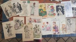 Lot En. 600 Cartes Anciennes PIN UP WOMEN Bébés Multiples Enfants Femmes Illustrateurs Séries Mode Publicités.. à Voir - Postcards