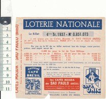 LOTERIE NATIONALE 1937 - Les Cafés Masda De Sao Paulo - Lottery Tickets