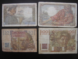 Lot N°1 Billet MINEUR 10 Francs PECHEUR 20 Francs LE VERRIER 50 Francs PAYSAN 100 Francs De 1949 - 1871-1952 Antichi Franchi Circolanti Nel XX Secolo
