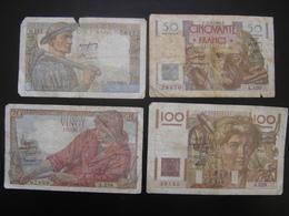 Lot N°2 Billet MINEUR 10 Francs PECHEUR 20 Francs LE VERRIER 50 Francs PAYSAN 100 Francs De 1949 - 1871-1952 Antichi Franchi Circolanti Nel XX Secolo