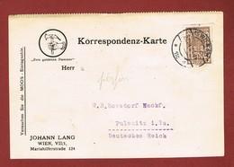 Infla Ab 1 Dez 1924. Postkarte Johann Lang Wien Perfin Firmenlochung 2 Scan - 1918-1945 1. Republik