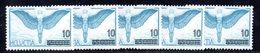 110/1500 - SVIZZERA 1938 , Posta Aerea Unificato N. 25  ***  MNH : Cinque Esemplari - Nuevos