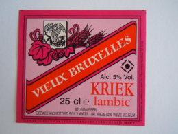 Label Etiquette Bier Bière Vieux Bruxelles Kriek Lambic Brewed Brouwerij Anker Wieze - Beer