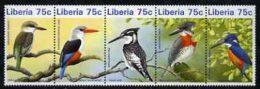 20060 Liberia 1996 Kingfishers Unmounted Mint Se-tenant Strip Of 5 (birds) - Liberia