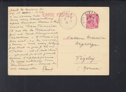 Frankreich France GSK 1939 Dinard Nach Vezelay - Ganzsachen