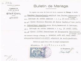 Bulletin De Mariage Ville De Petange (Taxe Communale) - Luxembourg