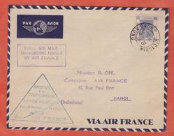 HONG KONG LETTRE PREMIER VOL DE 1939 POUR HANOI INDICHINE - British Honduras (...-1970)
