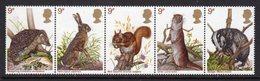 GREAT BRITAIN GB - 1977 BRITISH WILDLIFE SET (5V) IN HORIZONTAL STRIP FINE MNH ** SG1039a - Stamps