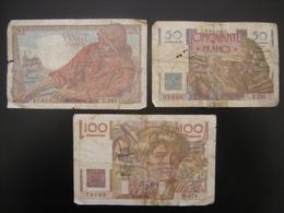 Lot Billet PECHEUR 20 Francs LE VERRIER 50 Francs PAYSAN 100 Francs De 1950 - 1871-1952 Antichi Franchi Circolanti Nel XX Secolo