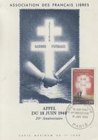 Carte  Maximum 1er  Jour    FRANCE   Appel  Du  18  Juin  1940  20éme  Anniversaire   1960 - Cartes-Maximum