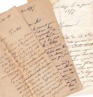 France - 1857 - 1891 - 1895 - Lot De 3 Correspondances (sans Enveloppes Ni Timbres) - Old Paper