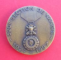 Médaille En Métal Jaune - 520ème Section De Nangis - Valeur Et Discipline - 25 Octobre 1997 - Professionnels / De Société