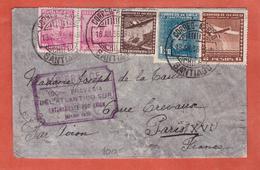 CHILI LETTRE AEROPOSTALE DE SANTIAGO DE 1936 POUR PARIS FRANCE - Chili